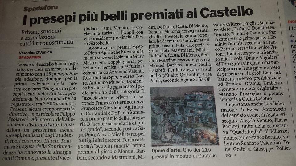 articolo mostra presepi al castello